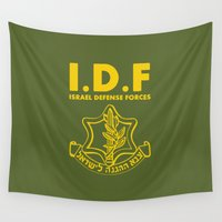 israel Wall Tapestries featuring IDF Israel Defense Forces - with Symbol - ENG by crouchingpixel
