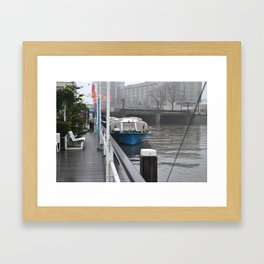 Blue Boat on the Canal - M Framed Art Print