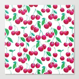 Watercolour Cherries | White Background Canvas Print