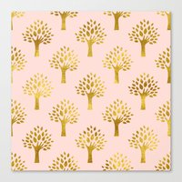 gold foil Canvas Prints featuring Pink Gold Foil 02 by Aloke Design