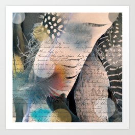 Feathers and Letters Art Print