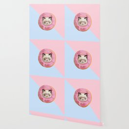 Persian Cat Strawberry Donut Wallpaper