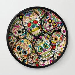 Sugar Skull Collage Wall Clock