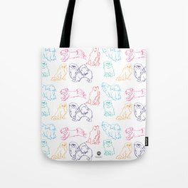 Colourful Tibetan Spaniel Minimalist Outline Pattern Tote Bag