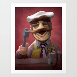 Muppet Maniac - Swedish Chef as Leatherface Art Print