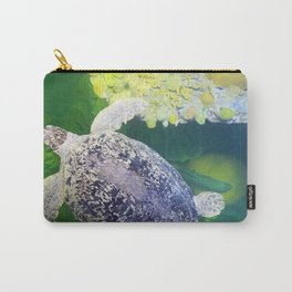 Sea Turtle on Lime Green Carry-All Pouch