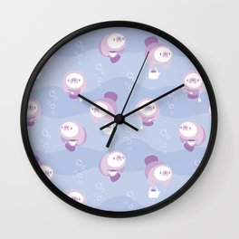 Manatea Party - Blue & Purple Wall Clock