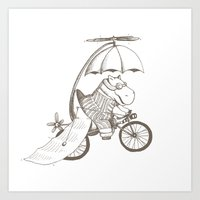 Hippo's Flying Machine Art Print