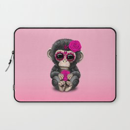 Pink Day of the Dead Sugar Skull Baby Chimp Laptop Sleeve