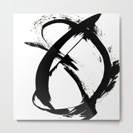 Brushstroke [7]: a minimal, abstract piece in black and white Metal Print