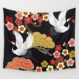 Japanese bird pattern Wall Tapestry
