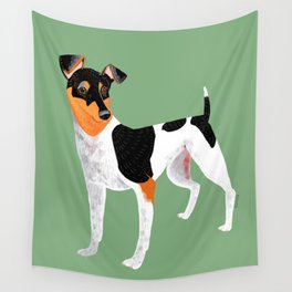 Japanese Terrier Green Wall Tapestry