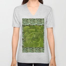 COLLAGE GRAY-GREEN  SUCCULENTS  MODERN DESIGN Unisex V-Neck