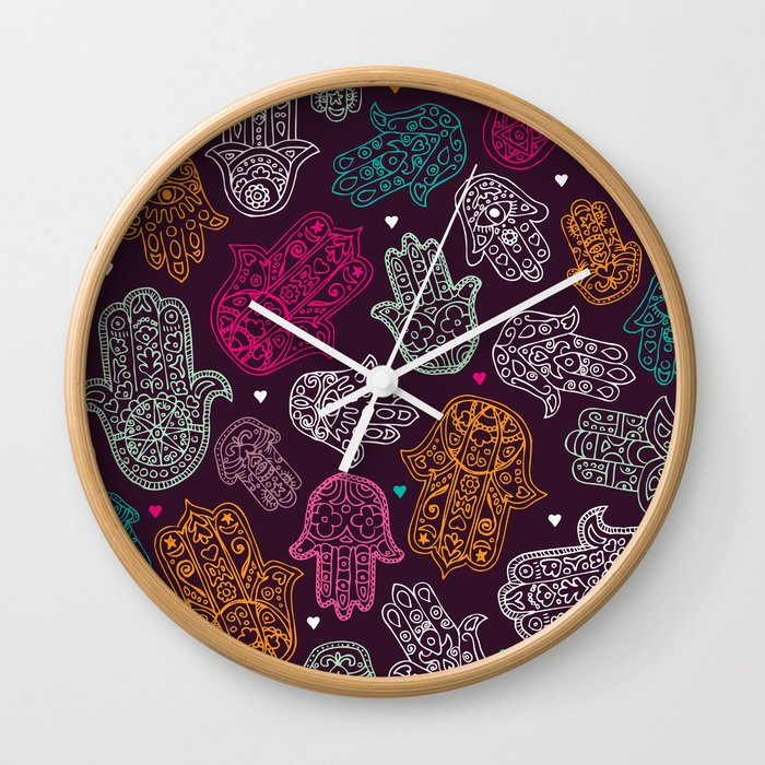 Arabic Hamsa Hand Of Fatima Art Pattern Design Wall Clock