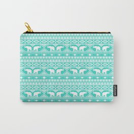 Elephant Tribal Mint Carry-All Pouch