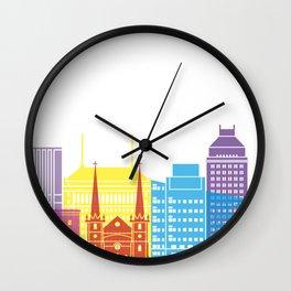 Fresno skyline pop Wall Clock