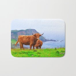 Highland cow watercolor painting #9 Bath Mat