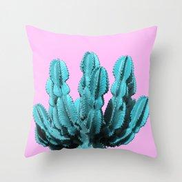 Turquoise cactus Throw Pillow