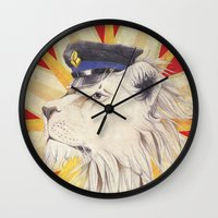 police Wall Clocks featuring Police Lion by WhiteRabbit