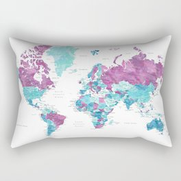 """Purple and turquoise watercolor world map with cities, """"Blair"""" Rectangular Pillow"""