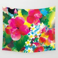 hawaiian Wall Tapestries featuring Hawaiian jungle by Akwaflorell