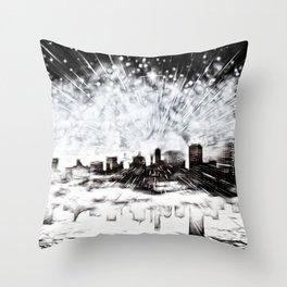Feuerwerk über der Stadt Throw Pillow