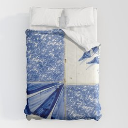 Abstract Delftware blue wall tiles Comforters