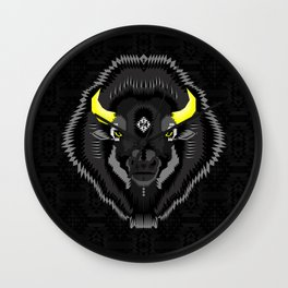 Geometric Bison Wall Clock