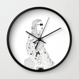 girl with record plastic bag Wall Clock