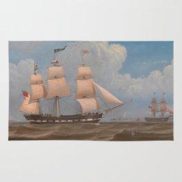 The English Merchant Ship Malabar - William Clark  Rug