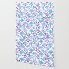 Mystical MERMAID DAYDREAMS Watercolor Scales Wallpaper