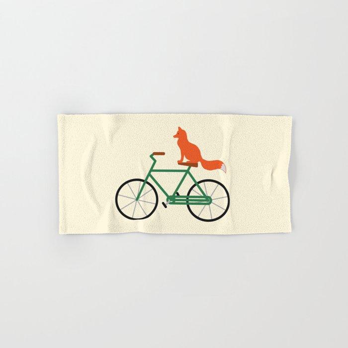 Fox Riding Bike Hand & Bath Towel