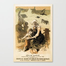 1890 Drowned fishermen charity ball by Chéret Canvas Print