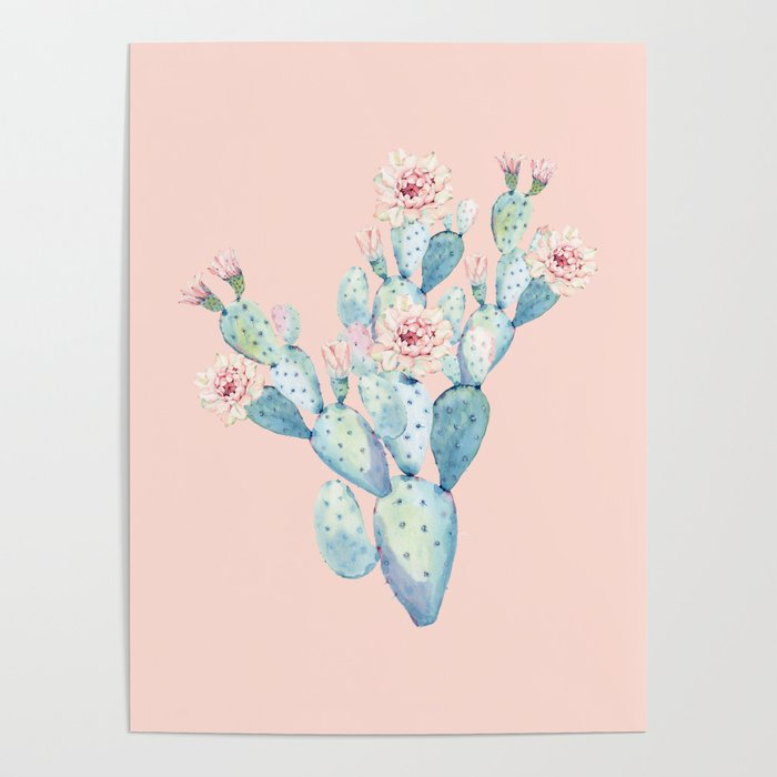 Rose Desert Cactus on Pink by Nature Magick Poster