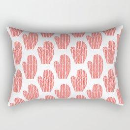 Orange and White Mittens Rectangular Pillow