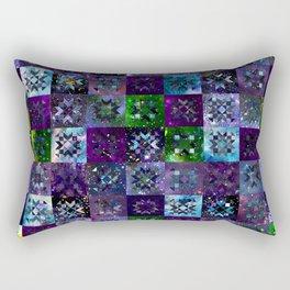 Cool Colors Galaxy Quilt Pattern Rectangular Pillow