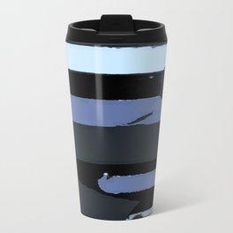 Modern Stripes Black Blue Gray Travel Mug