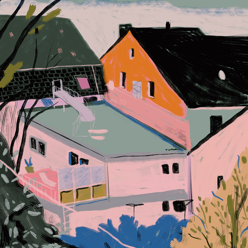 digital painting of houses in pink and orange