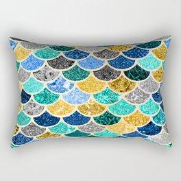Glitter Blue, Aquas, and Gold Mermaid Scales Pattern Rectangular Pillow