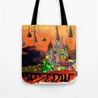 moscow Tote Bags featuring Moscow  by sladja
