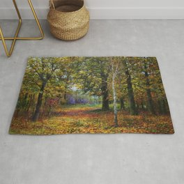 Jewels of Autumn Foliage with Sugar Maples, Lilac, White Birch & Blueberry landscape by V. Metyolkin Rug