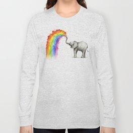 Baby Elephant Spraying Rainbow Long Sleeve T-shirt