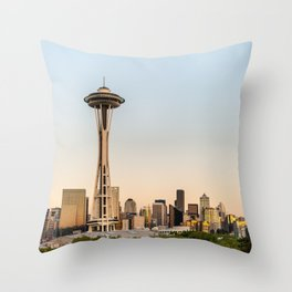 USA Photography - Seattle Space Needle In The Morning Throw Pillow