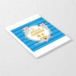 Hello Summer. Kawaii hammerhead shark Notebook
