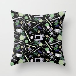 Stitch Witch (Purple/Green) Throw Pillow