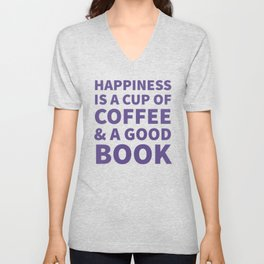 Happiness is a Cup of Coffee & a Good Book (Ultra Violet) Unisex V-Neck