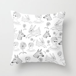 Alice in a Flurry Throw Pillow
