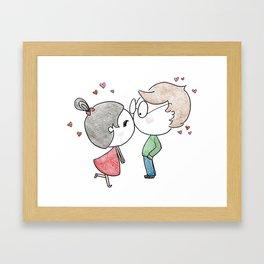 Kisses Reserved for Bae - Valentine's Day Cartoon Framed Art Print