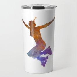 Woman in roller skates 07 in watercolor Travel Mug