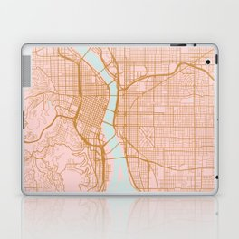 Pink and gold Portland map, Oregon Laptop & iPad Skin
